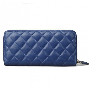 Rosaire « Hussarde » Quilted Lambskin Leather Zipper Wallet in Blue Color 65122