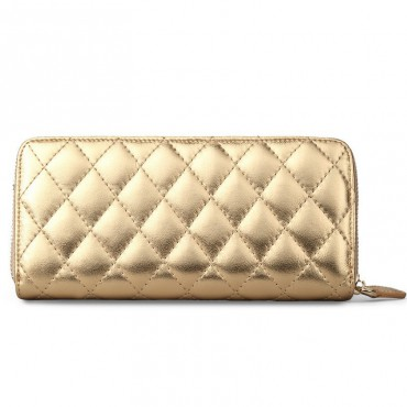 Rosaire « Hussarde » Quilted Lambskin Leather Zipper Wallet in Gold Color 65122