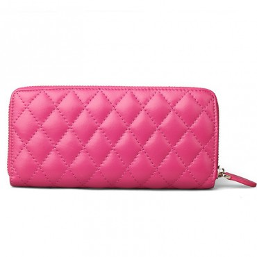 Rosaire « Hussarde » Quilted Lambskin Leather Zipper Wallet in Hot Pink Color 65122