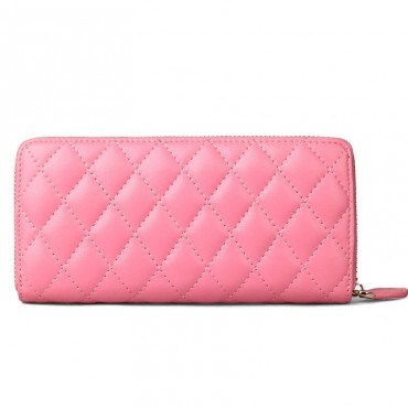 Rosaire « Hussarde » Quilted Lambskin Leather Zipper Wallet in Pink Color 65122