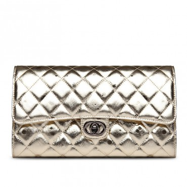 Rosaire « Jeanne » Quilted Metallic Clutch Bag Cowhide Leather with Shoulder Strap in Light Gold Color 75109