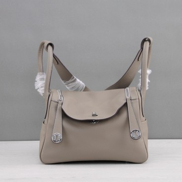 Rosaire « Ernestine » Top Handle Bag Cowhide Leather Elephant Gray / Silver 76198
