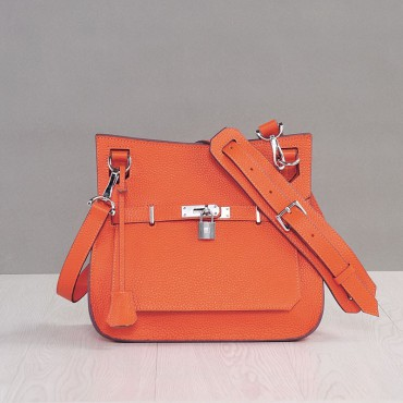 Rosaire « Olivia » Messenger Cross Body Cowhide Leather Bag with Strap Closure in Orange Color 76200