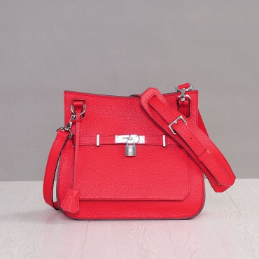 Rosaire « Olivia » Messenger Cross Body Cowhide Leather Bag with Strap Closure in Red Color 76200