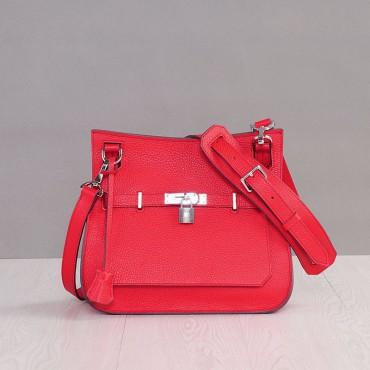Rosaire Sac à main porté épaule en cuir Rouge 76200