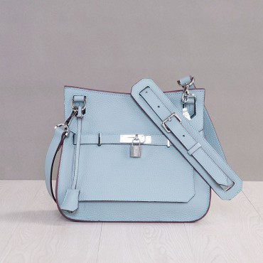 Rosaire « Olivia » Messenger Cross Body Cowhide Leather Bag with Strap Closure in Light Blue Color 76200