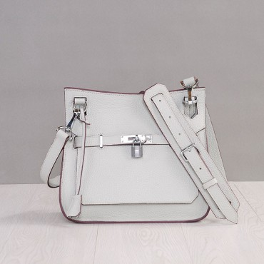 Rosaire « Olivia » Messenger Cross Body Cowhide Leather Bag with Strap Closure in Pearl Color 76200