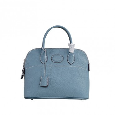 Rosaire « Abigaelle » Top Handle Bag Made of Cowhide Leather in Light Blue Color 76199