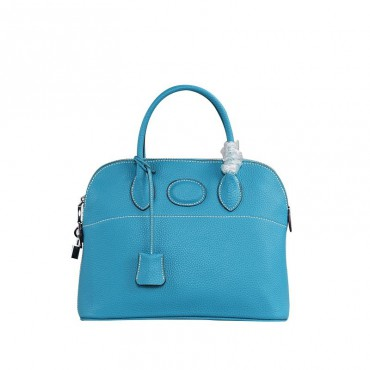 Rosaire « Abigaelle » Top Handle Bag Made of Cowhide Leather in Azure Blue Color 76199
