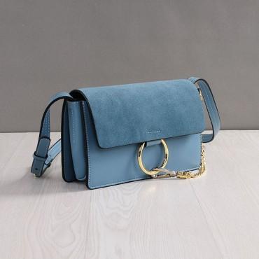 Rosaire Sac à main porté épaule en cuir Bleu 76205