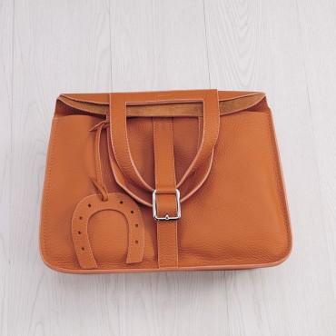 Rosaire « Fer à Cheval » Cowhide Leather Handbag in Orange Color 76204