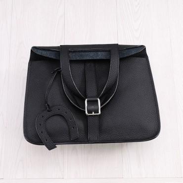 Rosaire « Fer à Cheval » Cowhide Leather Handbag in Black Color 76204