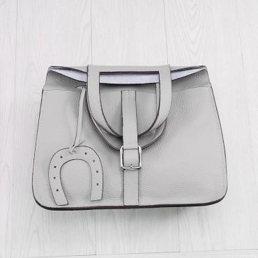 Rosaire « Fer à Cheval » Cowhide Leather Handbag in Light Gray Color 76204