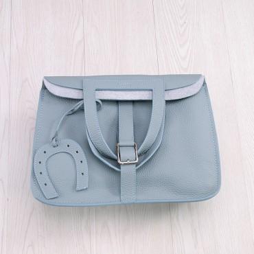 Rosaire « Fer à Cheval » Cowhide Leather Handbag in Light Blue Color 76204