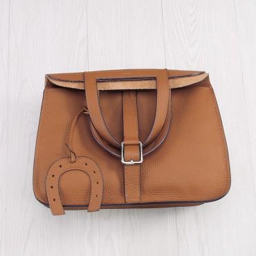 Rosaire « Fer à Cheval » Cowhide Leather Handbag in Khaki Color 76204