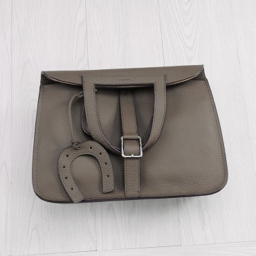 Rosaire « Fer à Cheval » Cowhide Leather Handbag in Dark Gray Color 76204