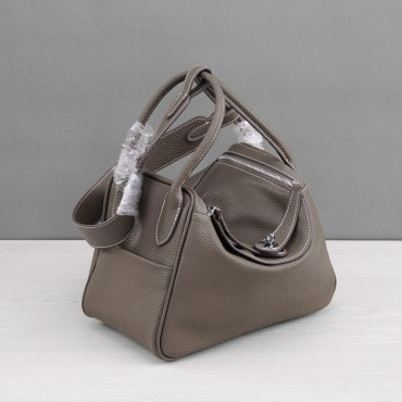 Rosaire « Ernestine » Top Handle Bag Cowhide Leather Dark Gray / Silver 76198