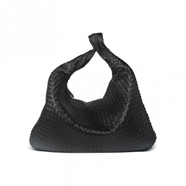 Delderci® « Santina » Intrecciato Lambskin Leather Hobo Bag in Black Color 88101