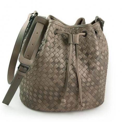 Delderci® « Lucrezia » Intrecciato Lambskin Leather Bucket Bag with Drawstring Closure in Khaki Color Gradient 88102