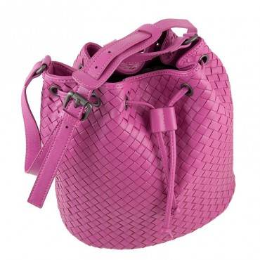 Delderci® « Lucrezia » Intrecciato Lambskin Leather Bucket Bag with Drawstring Closure in Pink Color 88102
