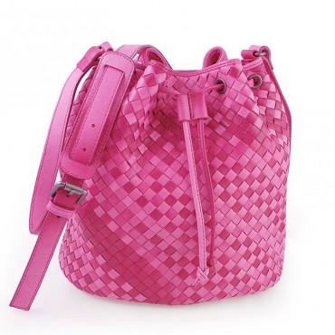 Delderci® « Lucrezia » Intrecciato Lambskin Leather Bucket Bag with Drawstring Closure in Pink Color Gradient 88102