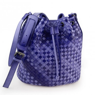 Delderci® « Lucrezia » Intrecciato Lambskin Leather Bucket Bag with Drawstring Closure in Purple Color Gradient 88102