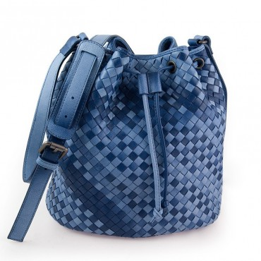 Delderci® « Lucrezia » Intrecciato Lambskin Leather Bucket Bag with Drawstring Closure in Blue Color Gradient 88102