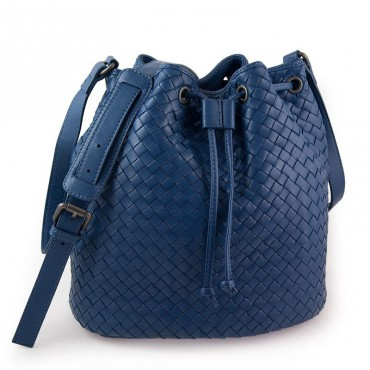 Delderci® « Lucrezia » Intrecciato Lambskin Leather Bucket Bag with Drawstring Closure in Blue Color 88102
