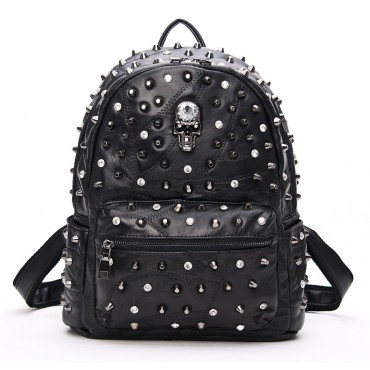Rosaire « Meredith » Skull Studded Lambskin Leather Backpack in Black Color 76215