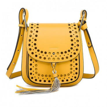 Rosaire « Brigitte » Perforated Shoulder Bag Made of Cowhide Leather with Tassel in Yellow Color 76216