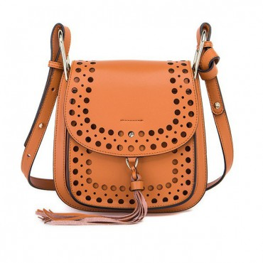 Rosaire « Brigitte » Perforated Shoulder Bag Made of Cowhide Leather with Tassel in Orange Color 76216