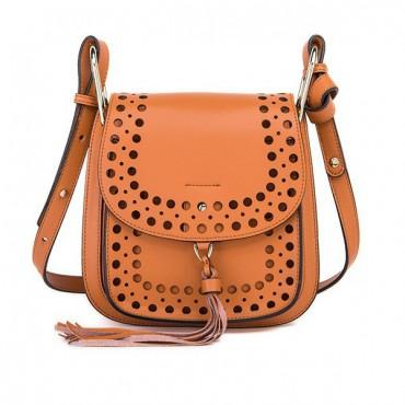 Rosaire « Brigitte » Perforated Shoulder Bag Made of Cowhide Leather with Tassel in Orange Color 76216