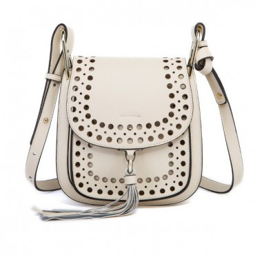 Rosaire « Brigitte » Perforated Shoulder Bag Made of Cowhide Leather with Tassel in White Color 76216