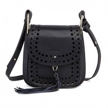 Rosaire « Brigitte » Perforated Shoulder Bag Made of Cowhide Leather with Tassel in Black Color 76216