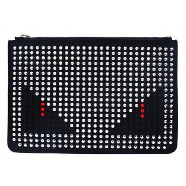 Rosaire « Fantasma » Monster Eyes Clutch Leather Bag Silver Black Red 76217
