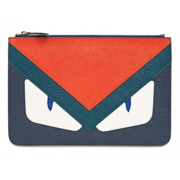 Rosaire « Fantasma » Monster Eyes Clutch Leather Bag Red Green Dark Blue 76218