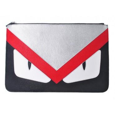 Rosaire « Fantasma » Monster Eyes Clutch Leather Bag Silver Red Dark Blue 76218