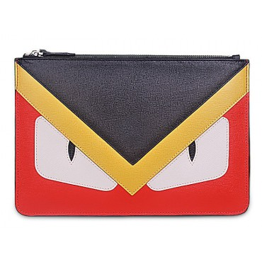 Rosaire « Fantasma » Monster Eyes Clutch Leather Bag Black Yellow Red 76218