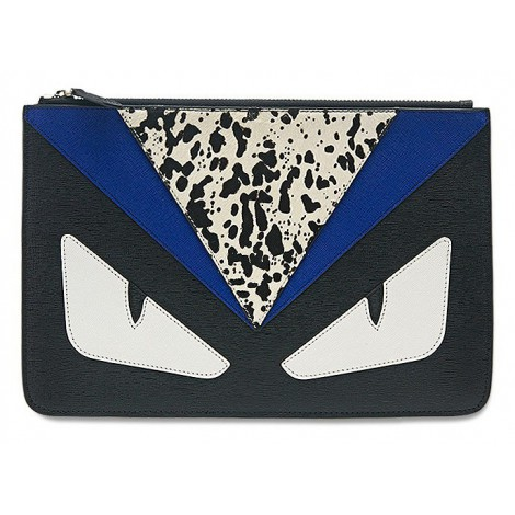 Rosaire « Fantasma » Monster Eyes Clutch Leather Bag Black Blue White 76218