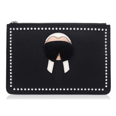 Rosaire « Mister » Clutch Leather Bag with Fur Detail Black and White 76219