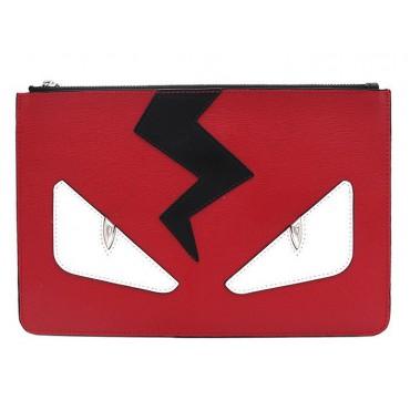 Rosaire « Fantasma » Thunder Monster Eyes Clutch Leather Bag Red Black White 76220