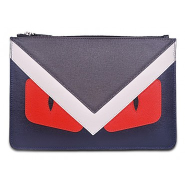 Rosaire « Fantasma » Monster Eyes Clutch Leather Bag Gray Purple Red 76218