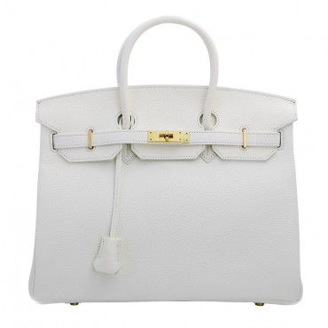 Rosaire « Beaubourg » Genuine Cowhide Full Grain Leather Top Handle Bag Padlock in White Gold / 15881