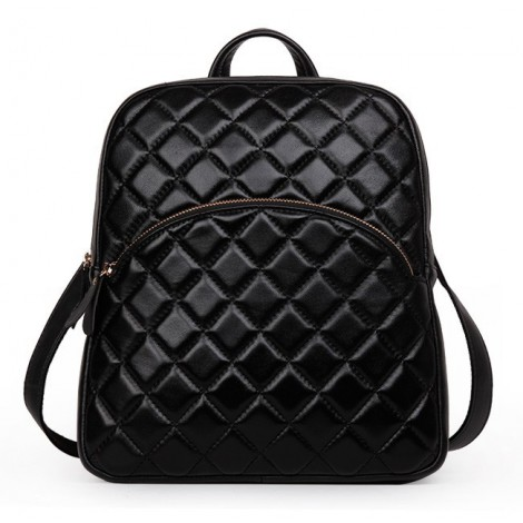 Rosaire « Bourgogne » Quilted Lambskin Leather Backpack Bag in Black Color 76148