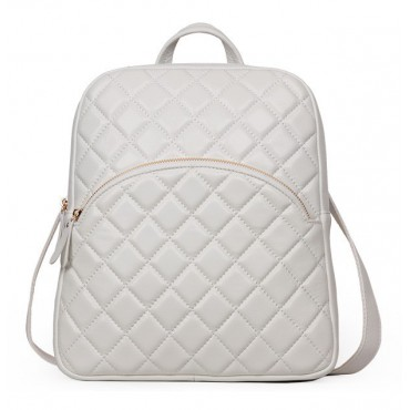 Rosaire « Bourgogne » Quilted Lambskin Leather Backpack Bag in White Color 76148