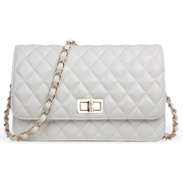 Rosaire « Rebecca » Quilted Lambskin Leather Shoulder Flap Bag in Pearl White Color 75130