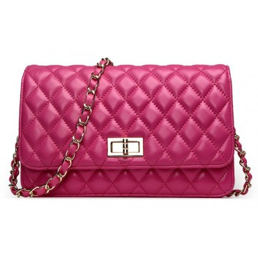 Rosaire « Rebecca » Quilted Lambskin Leather Shoulder Flap Bag in Magenta Color 75130