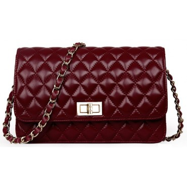 Rosaire « Rebecca » Quilted Lambskin Leather Shoulder Flap Bag in Wine Red Color 75130