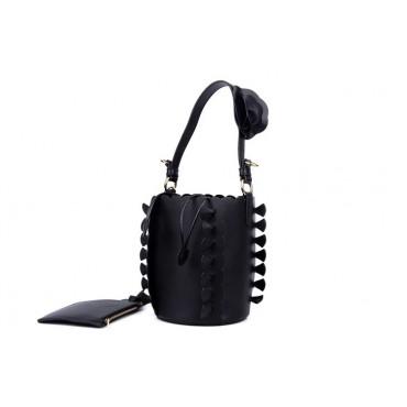Eldora Genuine Leather Bucket Bag Black 76224