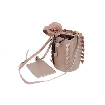 Eldora Genuine Leather Bucket Bag Apricot 76224